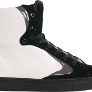 """product shot for Spoons Footwear: """"The Swagg Surfer"""" white/black"""