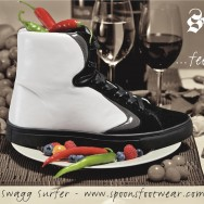 """campaign poster for Spoons Footwear: """"The Swagg Surfer - feed me!"""""""
